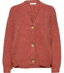 anghacr oz knit cardigan stickad tröja cardigan röd cream