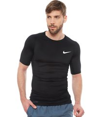 polera nike m top ss tight negro - calce regular