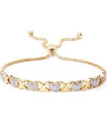 diamond accent heart x link bracelet in fine silver plate