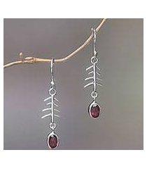 garnet dangle earrings, 'winter branches' (indonesia)