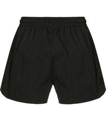 ami paris swim shorts plain color with ami de coeur patch - black