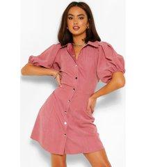 blouse jurk met pofmouwen en knoopjes, blush