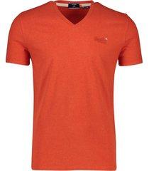 oranje v-hals t-shirt heren superdry