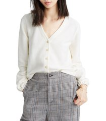 women's madewell texture & thread bubble-sleeve cardigan, size large - ivory