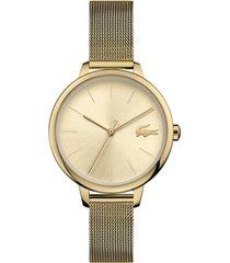 lacoste women's cannes gold-tone stainless steel mesh bracelet watch 34mm