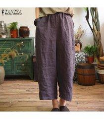 s-5xl zanzea mujeres anchas piernas casual floja de gran tamaño harem pantalones holgados -púrpura