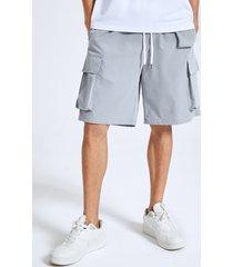 pantalones cortos lisos de cintura con cordón multibolsillos carga para hombre