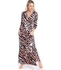 kaftan longo com bolso animal print safari