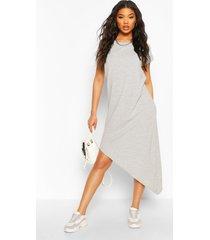midi-t-shirt-jurk met asymmetrische zoom, grijs gemêleerd