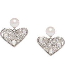 miu miu micro jewel heart earrings - silver