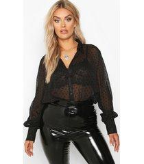 plus heart print mesh oversized shirt, black