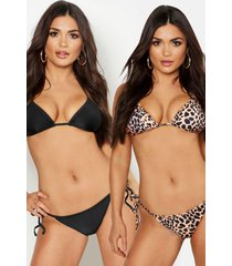 2 pack triangle bikini, black