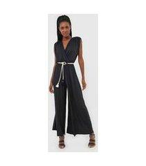 macacão dress to pantalona transpassado preto