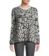 leopard-print wool blend sweater