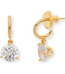 kate spade new york cubic zirconia drop earrings in clear/gold at nordstrom