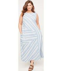 seashore stripe linen blend a-line dress