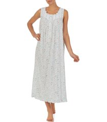 eileen west lace trim rose print ballet nightgown, size small in aqua mult at nordstrom