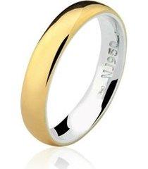 aliança mista ouro 18k e prata 925 natalia joias alm-158
