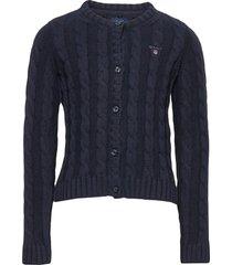 cotton cable cardigan gebreide trui cardigan blauw gant