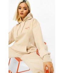 petite official oversized vlammen hoodie, sand