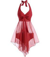 halter bowknot voile panel tankini swimwear