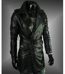men leather coat winter long  leather coat genuine real leather trench coat-uk36