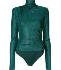 alexandre vauthier microcrystal high neck bodysuit - green