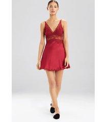 sleek lace chemise pajamas / sleepwear / loungewear, women's, red, silk, size l, josie natori