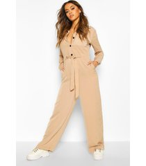 contrast stitch woven tailored jumpsuit, beige