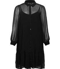 dress buttons plus collar long sleeves kort klänning svart zizzi