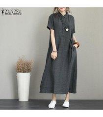zanzea mujeres botones cuello largo vestido de camisa de vestir de kaftan de vestir de manga corta solapa de midi -gris oscuro