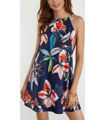 dobladillo curvo sin mangas con estampado floral al azar azul marino vestido