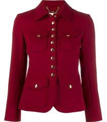 chloé press stud jacket - red