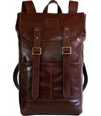 mochila line store leather adventure couro marrom avermelhado