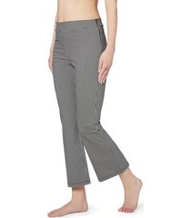 calzedonia cropped flare vichy leggings woman black size l