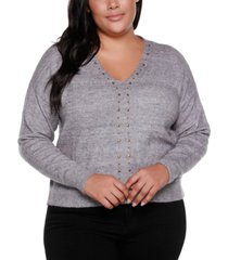 belldini black label plus size v-neck long sleeve sweater with embellishment