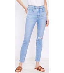 loft petite destructed high rise skinny ankle jeans in vivid light indigo wash
