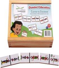 dominó educativo cores e formas jogo com 28 peças - fundamental