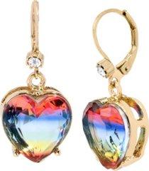 """betsey johnson rainbow heart stone drop earrings in gold-tone metal, 1.25"""""""