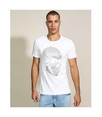 camiseta masculina slim caveira texturizada metalizada manga curta gola careca branca