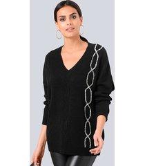 trui alba moda zwart::zilverkleur