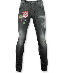 skinny jeans justing jeans patches - spijkerbroek verfspatten -