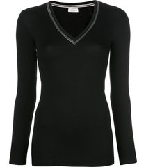 brunello cucinelli beaded-neckline long sleeved top - black