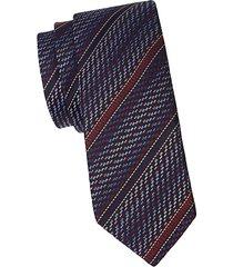 logo stripe silk tie