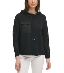 calvin klein mesh pullover hoodie
