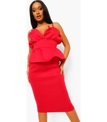 strakke scuba peplum midi jurk, rood