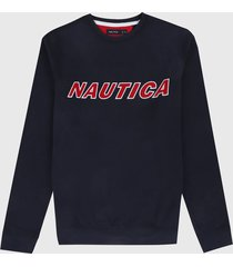buzo azul navy-rojo nautica