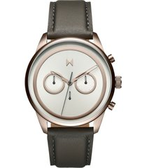 mvmt men's powerlane gray leather strap watch 43mm