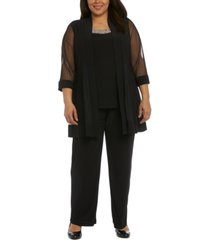 r & m richards plus size embellished layered-look pantsuit