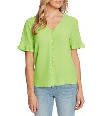 women's cece ruffle sleeve crepe blouse, size x-small - green